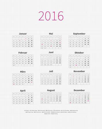 XML Kalender-Vorlage 12p 3c
